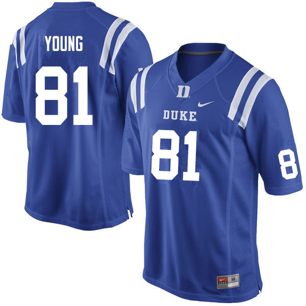 Men #81 Aaron Young Duke Blue Devils College Football Jerseys Sale-Blue