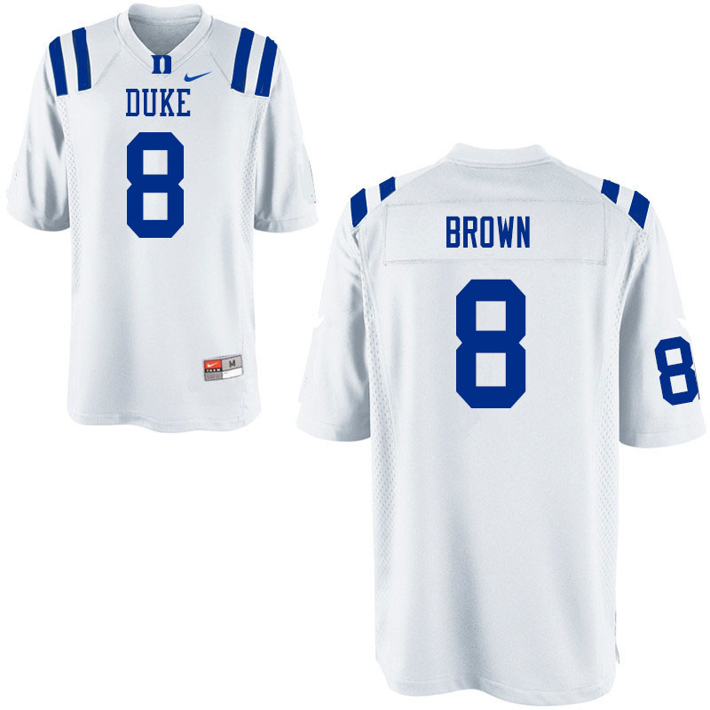 Men #8 Brittain Brown Duke Blue Devils College Football Jerseys Sale-White