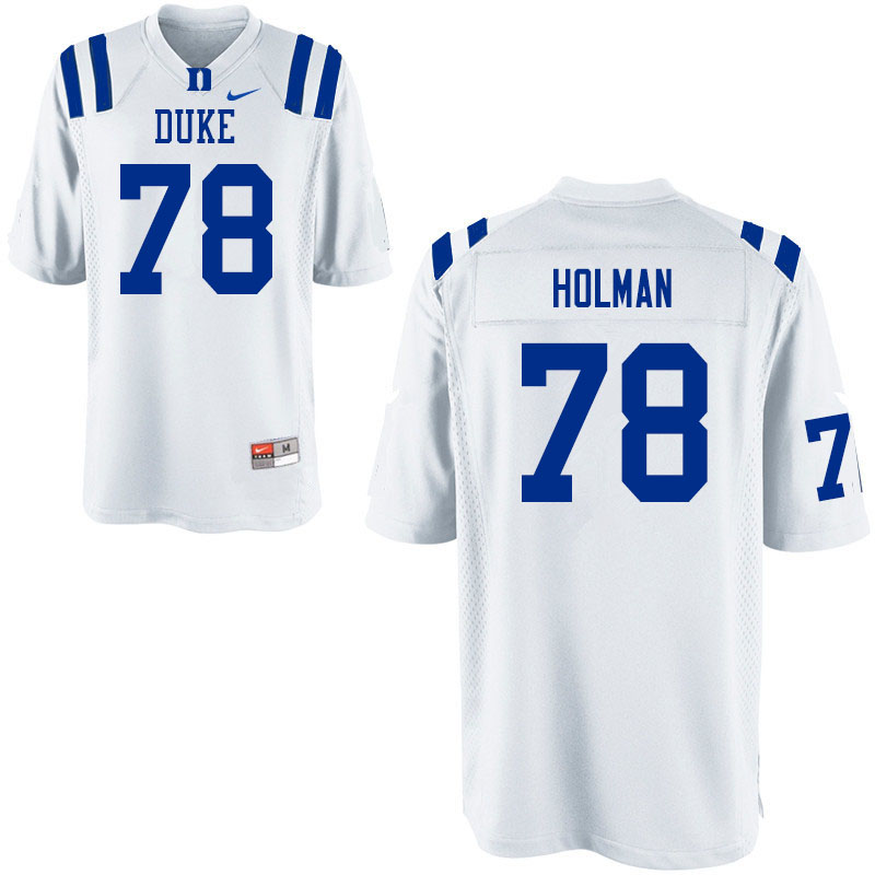 Men #78 Casey Holman Duke Blue Devils College Football Jerseys Sale-White