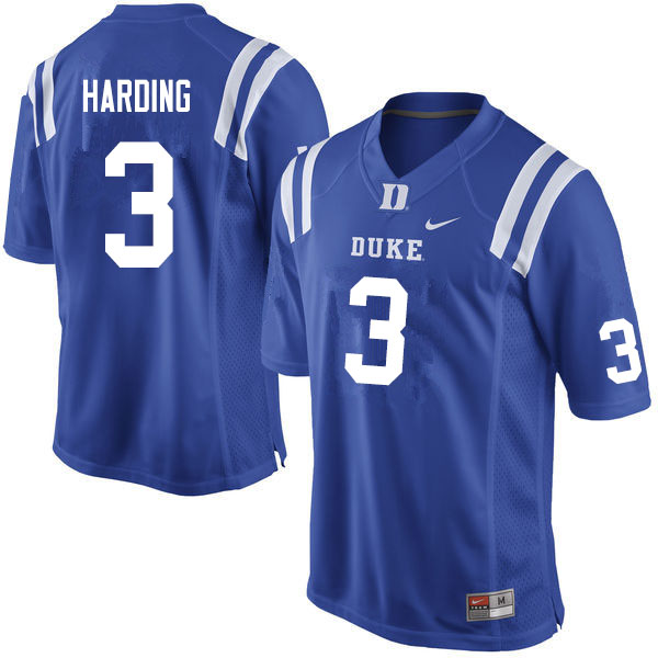 Men #3 Darrell Harding Duke Blue Devils College Football Jerseys Sale-Blue