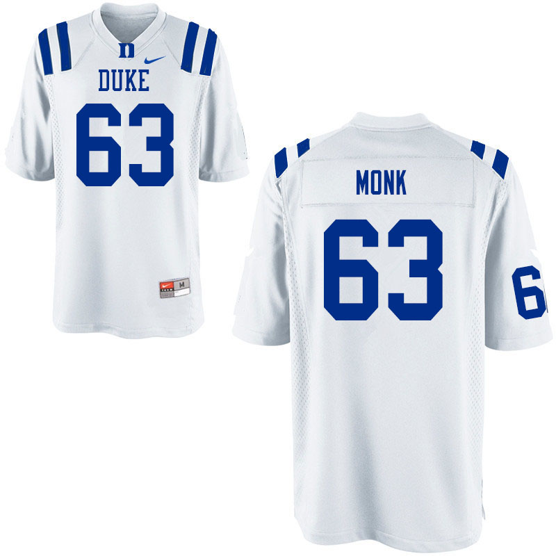 Men #63 Jacob Monk Duke Blue Devils College Football Jerseys Sale-White