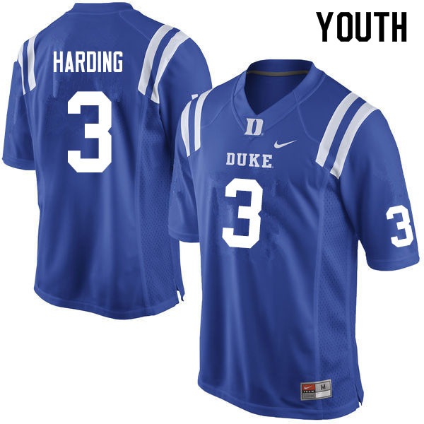 Youth #3 Darrell Harding Duke Blue Devils College Football Jerseys Sale-Blue