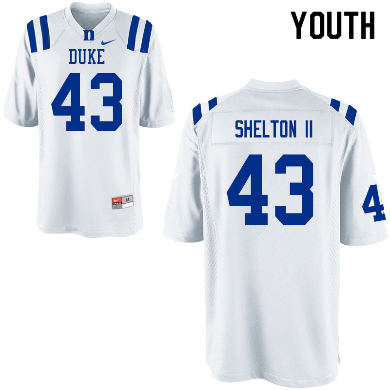 Youth #43 Rocky Shelton II Duke Blue Devils College Football Jerseys Sale-White