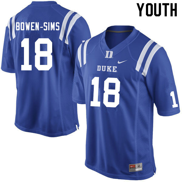 Youth #18 Malik Bowen-Sims Duke Blue Devils College Football Jerseys Sale-Blue
